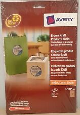 Avery L7106-20 Brown Kraft Product Labels 240 Self Adhesive Labels Sealed NEW