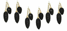 6 x Black Glass Pine Cone Hanging Decorations Christmas Tree Baubles
