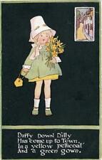 "PRINTED CHILDRENS POSTCARD ""DAFFY DOWN DILLY"" BY LINDA EDGERTON, PUB. V. MANSELL"