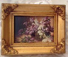 Antique Victorian Miniature Wood Frame Ornate Gold Gilt Santoro 3D Swing Lilac