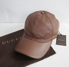 NWT Authentic GUCCI Brown LEATHER Interlocking G Baseball Cap Hat M