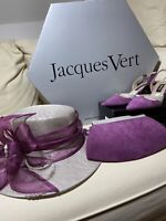 JACQUES VERT Court Heel Shoe Size 6.5 Matching Bag & Hat Used Once Purple Suede
