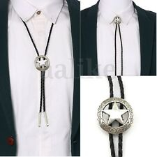 Fashion Mens Bolo Neck Star Alloy PU Leather Western Cowboy Shirt Rodeo Bolo Tie