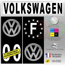 "Stickers Plaque D'immatriculation Fond Noir Logo ""Volkswagen"" 4 pièces 45x100 mm"