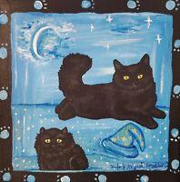 ACEO PRINT OF PAINTING KSAMS FOLK ART BLACK CAT WINTER MAGIC SNOW 2.5 x 3.5