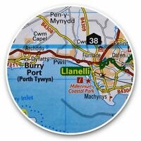 2 x Vinyl Stickers 10cm - Llanelli Wales UK Travel Map  #45594