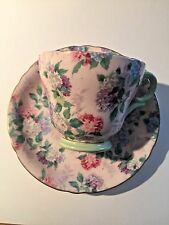 """SHELLEY """"SUMMER GLORY""""  PINK WITH MINT GREEN CUP AND SAUCER DAINTY PATTERN"""
