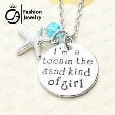 I am a toes in the sand kind of girl  BEACH Necklace Silver Starfish bead Surf