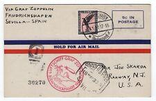 1930 Graf Zeppelin Flight to Seville Spain on Postcard of Interstate Airways