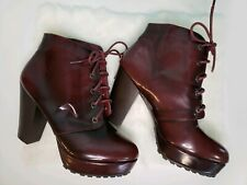 Women's Platform PU Ankle Boots High Heel Lace Up Winter Shoes Size  8.5 US