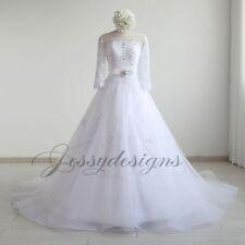 Neu Weiß Brautkleid Hochzeitskleid A-Linie Spitze mit Ärmel Perlen Strass Blumen