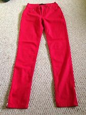 Zara Bright Red Cotton High Waist Tapered Slim Skinny Jeans Trousers 8/10 Long