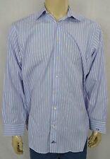 Holland & Sherry Bespoke Savile Row Blue Pink Striped Luxury Dress Shirt 16 x 33