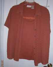 L@@K Alfred Dunner 24W Rust Eyelet w Attached Sleeveless Tank Lace On Neckline