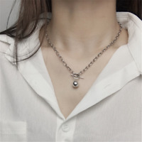 Genuine 925 Sterling Silver Rolo Link Chain Ball Charm T Bar Choker Necklace