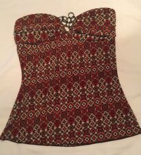 Trixxi Clothing Co. Brown, Red, Orange Strapless Shirt Blouse Top Size Small