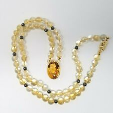 Laura Ramsey SOLID 18K YG Citrine Oval and Bead and Hematite Necklace 18""