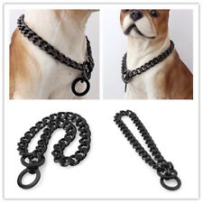 Black Dog Collar Stainless Steel Strong Dogs Training Chain Big Dog Choker