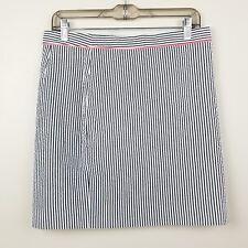 J.Crew No 2 Pencil Skirt Seersucker Size 6 White Gray Stripped