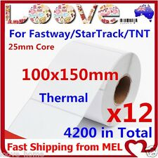 12x Thermal Direct Labels Roll 100 X 150mm Fastway EParcel Startrack Zebra SATO