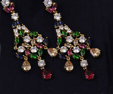 18K 18ct Gold GF Sapphire Ruby Emerald Topaz Chandelier Drop Earrings