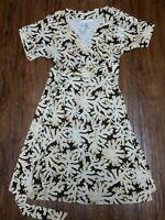 DVF Diane von Furstenberg coral print Wrap Silk Dress Size 4