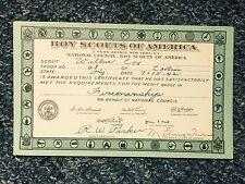 1942 Boy Scout Of America Certificate
