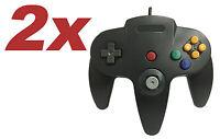 2 x Nintendo 64 CONTROLLER BLACK  N64 *OLD SKOOL*