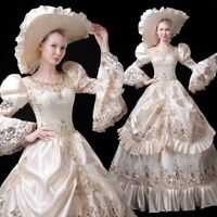 Retro Women Victorian Dress Royal Ball Gown Costume Gown Reenactment Theater