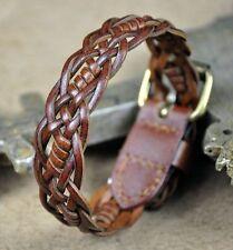 S324 Classic Surfer Braided Leather Wristband Bracelet Mens Cuff Orange Brown