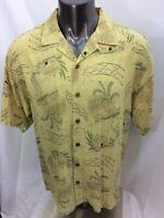 Tommy Bahama 100% Silk IslandPattern Short Sleeve Men's Shirt Size Large
