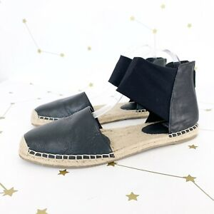 Eileen Fisher Espadrilles Size 9 Black Leather Mesh Ankle Strap Coy Flat Shoes