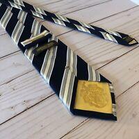 """Donald J Trump Neck Tie Signature Collection Blue White Gold Silk 61"""" x 3.5"""" EUC"""