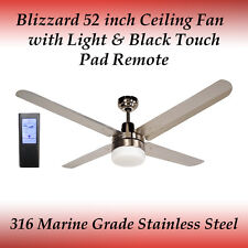 Blizzard 52 inch Stainless Steel Ceiling Fan with Light and Black Touch Remote