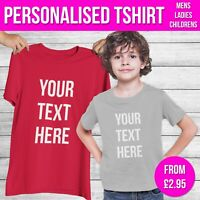 Boys Girls Personalised T Shirt Any Custom Text Mens Ladies Funny Tshirt Gift