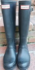 Hunter Original Tall Rain Rubber Boots Black Matte UK 4 US 5M/6W EUR 37