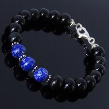 Men's Women Black Obsidian Lapis Bracelet 925 Sterling Silver Spacers Clasp 120
