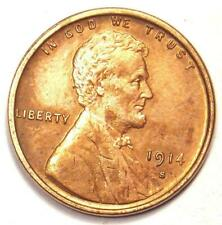 1914-S Lincoln Wheat Cent Penny 1C - Uncirculated Details (UNC MS) - Rare Date!