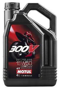 104129 Motul 300V 4T Full Synthetic Motorcycle Oil 15W-50 4 Liter (1.05 Gallon)