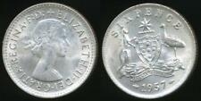 Australia, 1957 Sixpence, 6d, Elizabeth II (Silver) - Uncirculated