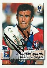 ✺Signed✺ 2002 NEWCASTLE KNIGHTS NRL Card ANDREW JOHNS Daily Telegraph