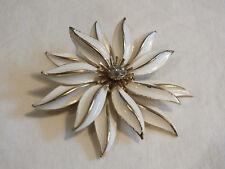 Beautiful Brooch Pin Gold Tone Flower White Enamel Clear Rhinestones Sign CAPRI
