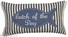 FILLED FISH FISHING CATCH OF THE DAY COTTON BLUE EMBROIDERED CUSHION 30 X 50