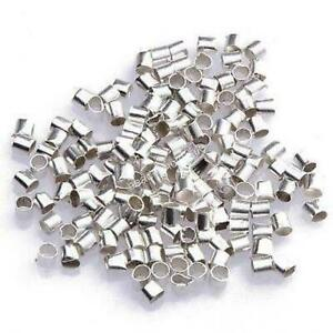 500 x SILVER PLATED 1.5mm TUBE CRIMP BEADS FINDINGS  AH3