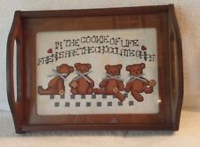 """Vintage Hand Made Cross Stitched Teddy Bear Glass Serving Tray 12.5"""""""