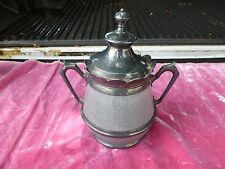 RARE LARGE FANCY 19TH C GRANITEWARE AND PEWTER COVERED 8 INCH TALL SUGAR BOWL