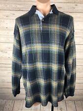 VTG Bugle Boy XL Tartan Plaid Sweater Knit Henley Long Sleeve Shirt j3
