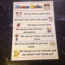 house rules poster childminder parents kids behaviour system autism asd