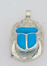 Scarab.925 Silver Pendant inlaid withTurquoise (Small) (Hallmarked)