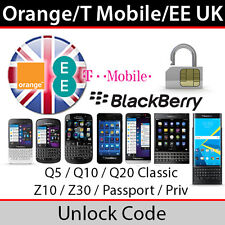 Orange/T-Mobile/EE UK BlackBerry Q5/Q10/Z10/Z30/Passport/Priv Unlock Code